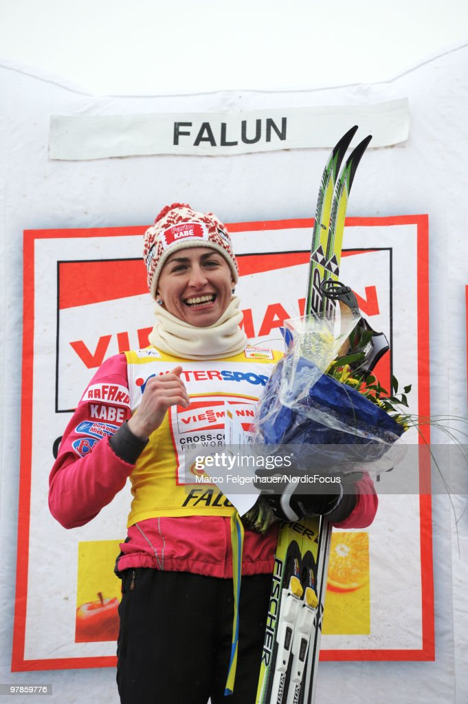 Justyna Kowalczyk of Poland reacts after the women's 2,5 km Cross Country Skiing during the FIS World Cup on March 19, 2010 in Falun, Sweden.