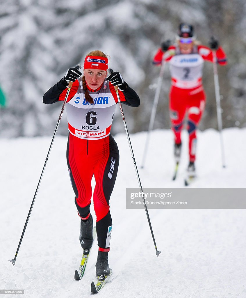 Justyna Kowalczyk of Poland takes 1st place during the FIS Cross Country World Cup Women's 10km Mass Start on December 17, 2011 in Rogla, Slovenia.