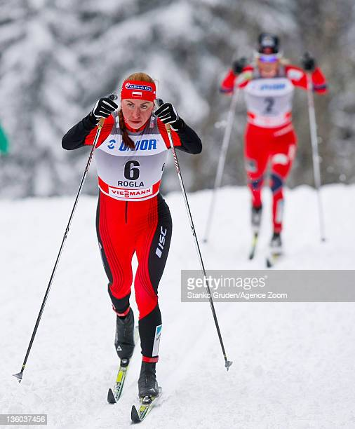 Justyna Kowalczyk of Poland takes 1st place during the FIS Cross Country World Cup Women's 10km Mass Start on December 17 2011 in Rogla Slovenia