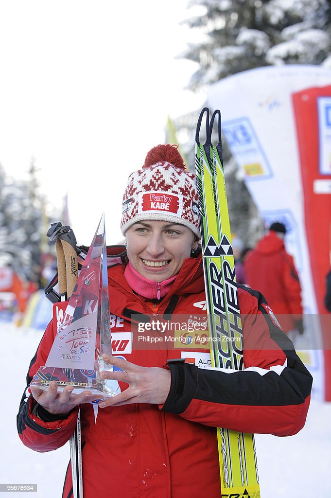 Justyna Kowalczyk of Poland takes 1st place during the Women's 9km Freestyle event of the FIS Tour De Ski on January 10, 2010 in Val di Fiemme, Italy.
