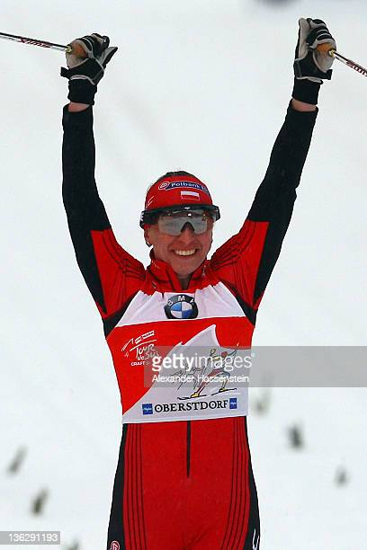 Justyna Kowalczyk of Poland wins the women's 12 km classic sprint event for the FIS Cross Country World Cup Tour de Ski on December 31 2011 in...