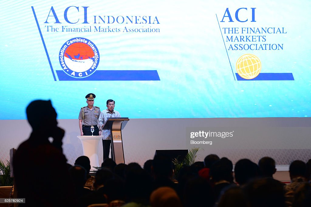 <a gi-track='captionPersonalityLinkClicked' href=/galleries/search?phrase=Jusuf+Kalla&family=editorial&specificpeople=667420 ng-click='$event.stopPropagation()'>Jusuf Kalla</a>, Indonesia's vice president, right, speaks during the AIC World Congress conference in Jakarta, Indonesia, on Friday, April 29, 2016. Kalla expects gross domestic product (GDP) to expand more than 5 per cent this year. Photographer: Dimas Ardian/Bloomberg via Getty Images