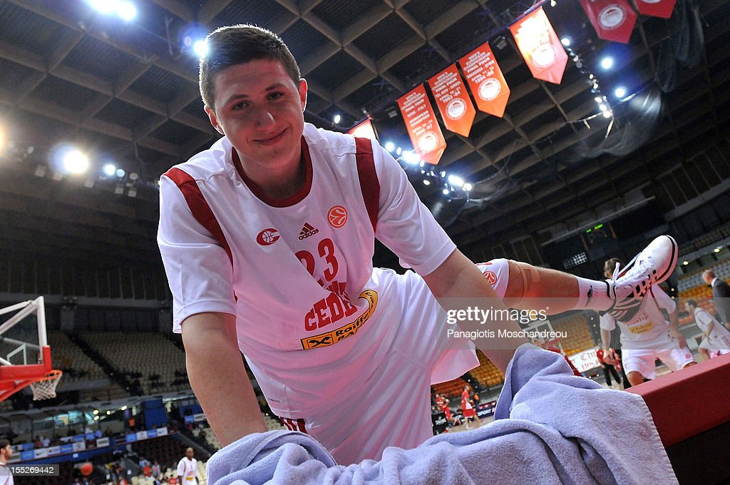 Jusuf Nurkic, #23 of Cedevita Zagreb poses for a photograph whilst warming up during the 2012-2013 Turkish Airlines Euroleague Regular Season Game Day 4 between Olympiacos Piraeus v Cedevita Zagreb at Peace and Friendship Stadium on November 2, 2012 in Athens, Greece.