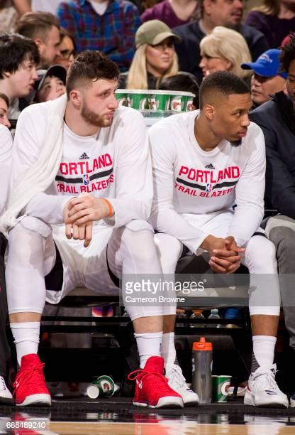 Jusuf Nurkic and Damian Lillard of the Portland Trail Blazers look on during the game against the Houston Rockets on March 30 2017 at the Moda Center...