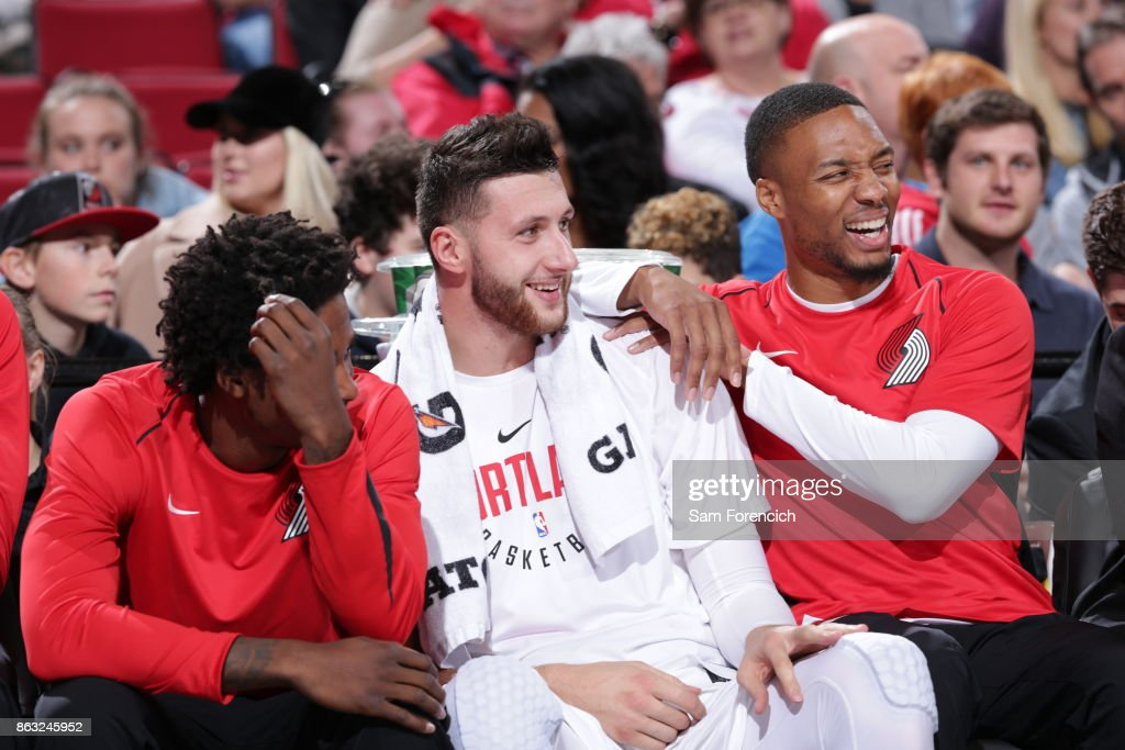 Jusuf Nurkic #27 and Damian Lillard #0 of the Portland Trail Blazers react during the preseason game against the Maccabi Haifa on October 13, 2017 at the Moda Center in Portland, Oregon.