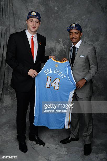 Jusuf Nurkic and Gary Harris both aquired via trade by the Denver Nuggets pose for a portrait during the 2014 NBA Draft at the Barclays Center on...