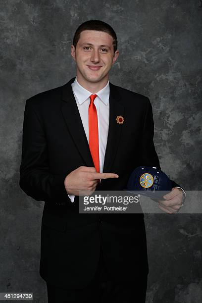 Jusuf Nurkic aquired via trade by the Denver Nuggets poses for a portrait during the 2014 NBA Draft at the Barclays Center on June 26 2014 in the...