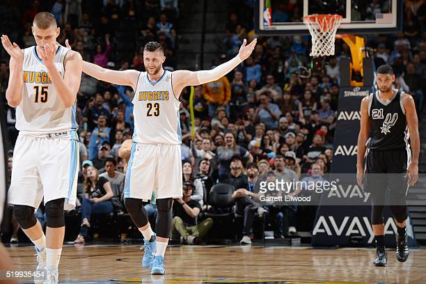 Jusuf Nurkic of the Denver Nuggets and Nikola Jokic of the Denver Nuggets celebrate during the game against the San Antonio Spurs on April 8 2016 at...