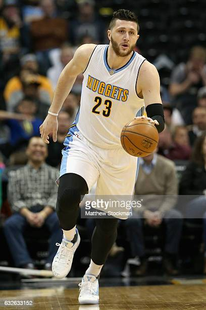 Jusuf Nurkic of the Denver Nuggets brings the ball down court against the Utah Jazz at the Pepsi Center on January 24 2017 in Denver Colorado NOTE TO...