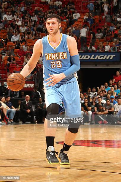 Jusuf Nurkic of the Denver Nuggets brings the ball up court against the Miami Heat on March 20 2015 at American Airlines Arena in Miami Florida NOTE...