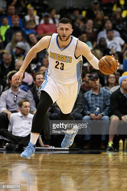 Jusuf Nurkic of the Denver Nuggets controls the ball against the Oklahoma City Thunder at Pepsi Center on April 5 2016 in Denver Colorado The Thunder...