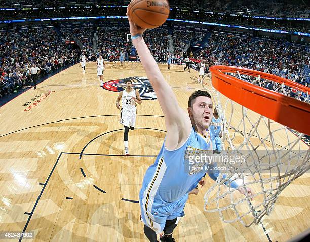 Jusuf Nurkic of the Denver Nuggets dunks against the New Orleans Pelicans on January 28 2015 at Smoothie King Center in New Orleans Louisiana NOTE TO...