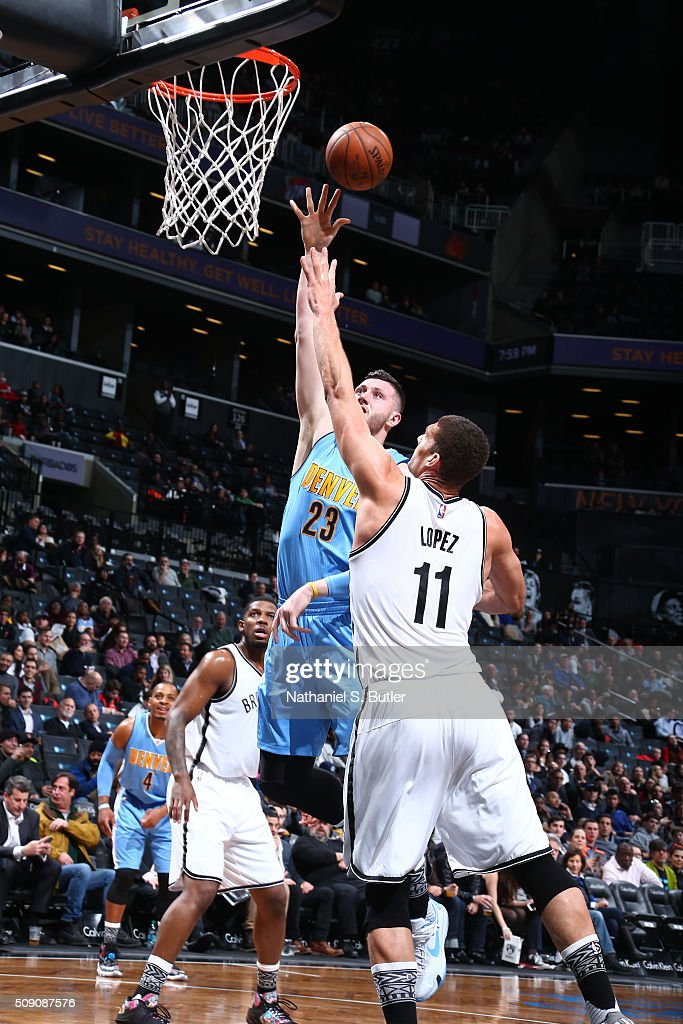 Jusuf Nurkic #23 of the Denver Nuggets goes for the lay up against the Brooklyn Nets during the game on February 8, 2016 at Barclays Center in Brooklyn, New York.