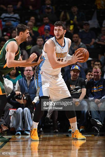 Jusuf Nurkic of the Denver Nuggets handles the ball against the Utah Jazz on November 20 2016 at the Pepsi Center in Denver Colorado NOTE TO USER...