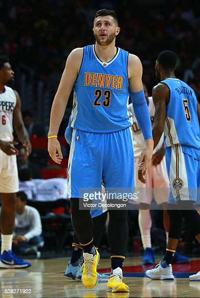 Jusuf Nurkic of the Denver Nuggets looks on during the NBA game against the Los Angeles Clippers at Staples Center on March 27 2016 in Los Angeles...