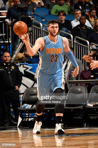 Jusuf Nurkic of the Denver Nuggets passes the ball against the Orlando Magic on December 10 2016 at Amway Center in Orlando Florida NOTE TO USER User...