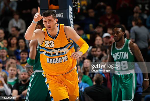 Jusuf Nurkic of the Denver Nuggets reacts as he plays against the Boston Celtics at Pepsi Center on January 23 2015 in Denver Colorado The Celtics...