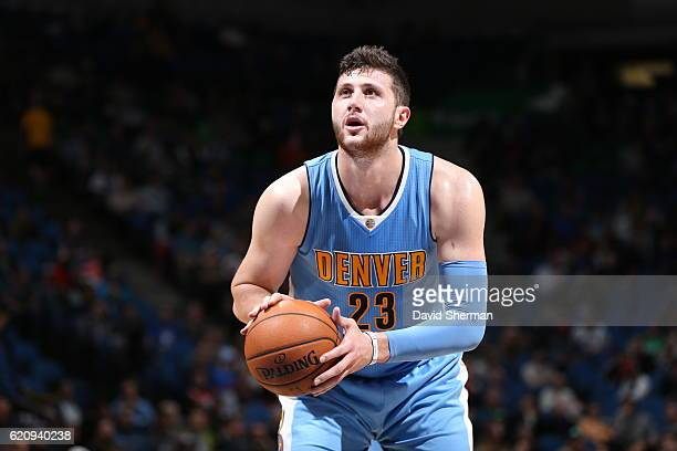 Jusuf Nurkic of the Denver Nuggets shoots a free throw against the Minnesota Timberwolves during the game on November 3 2016 at Target Center in...