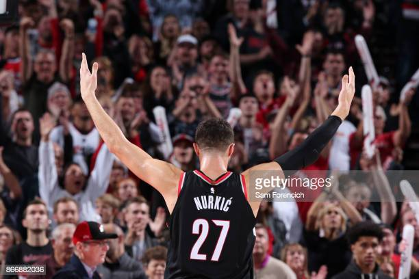 Jusuf Nurkic of the Portland Trail Blazers addressed the crowd during the game against the LA Clippers on October 26 2017 at the Moda Center in...