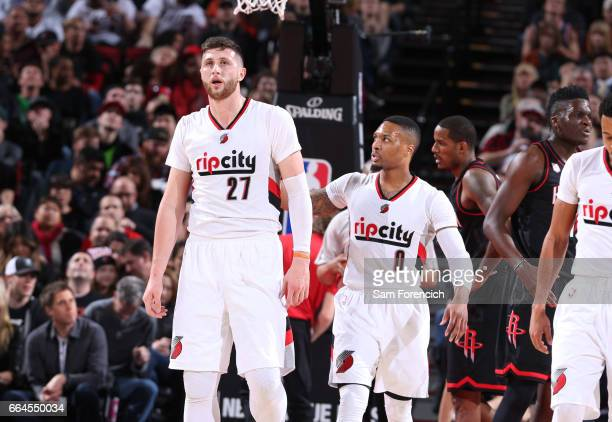 Jusuf Nurkic of the Portland Trail Blazers and Damian Lillard during the game against the Houston Rockets on March 30 2017 at the Moda Center in...
