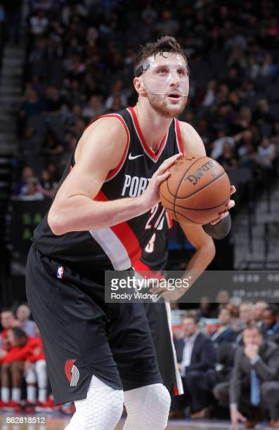 Jusuf Nurkic of the Portland Trail Blazers attempts a freethrow shot against the Sacramento Kings on October 9 2017 at Golden 1 Center in Sacramento...
