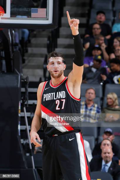 Jusuf Nurkic of the Portland Trail Blazers celebrates during the game against the Sacramento Kings on October 9 2017 at Golden 1 Center in Sacramento...