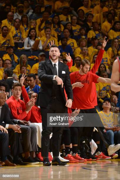 Jusuf Nurkic of the Portland Trail Blazers celebrates from the bench during the Western Conference Quarterfinals game against the Golden State...