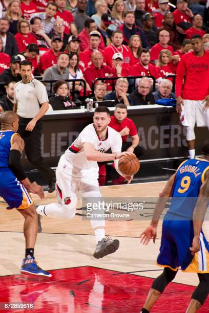Jusuf Nurkic of the Portland Trail Blazers dribbles the ball against the Golden State Warriors in Game Three of the Western Conference Quarterfinals...