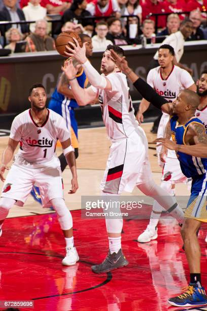 Jusuf Nurkic of the Portland Trail Blazers drives to the basket against the Golden State Warriors in Game Three of the Western Conference...