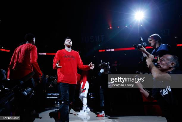 Jusuf Nurkic of the Portland Trail Blazers during pregame introductions against the Golden State Warriors during Game Three of the Western Conference...
