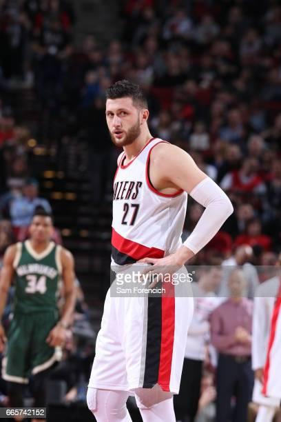 Jusuf Nurkic of the Portland Trail Blazers during the game against the Milwaukee Bucks on March 21 2017 at the Moda Center in Portland Oregon NOTE TO...