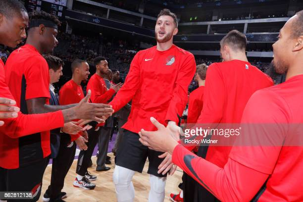 Jusuf Nurkic of the Portland Trail Blazers gets introduced into the starting lineup against the Sacramento Kings on October 9 2017 at Golden 1 Center...