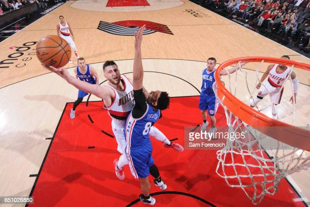 Jusuf Nurkic of the Portland Trail Blazers goes for a lay up against the Philadelphia 76ers during the game on March 9 2017 at the Moda Center in...