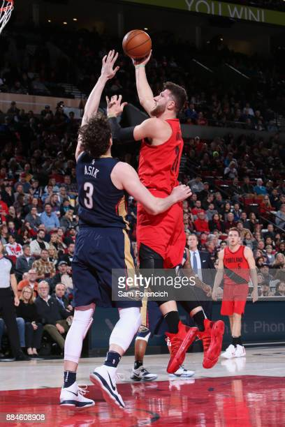 Jusuf Nurkic of the Portland Trail Blazers goes to the basket against the New Orleans Pelicans on December 2 2017 at the Moda Center in Portland...