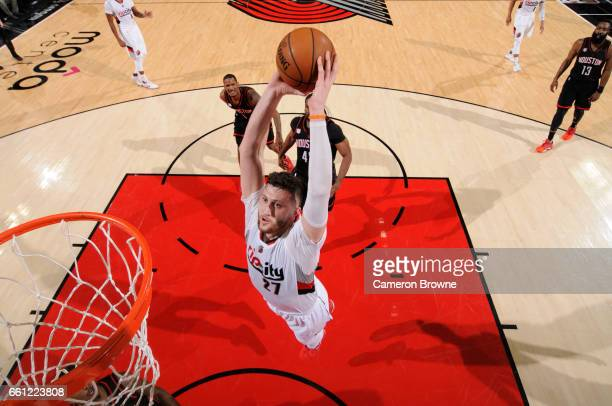 Jusuf Nurkic of the Portland Trail Blazers goes up for a dunk during a game against the Houston Rockets on March 30 2017 at the Moda Center in...