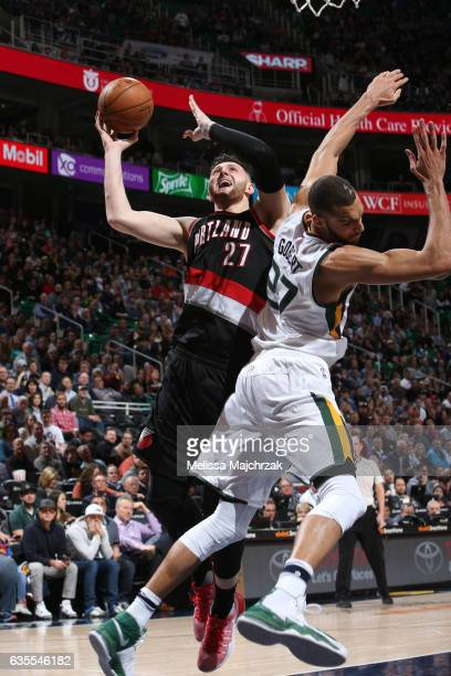 Jusuf Nurkic of the Portland Trail Blazers goes up for a lay up against the Utah Jazz on February 15 2017 at vivintSmartHome Arena in Salt Lake City...