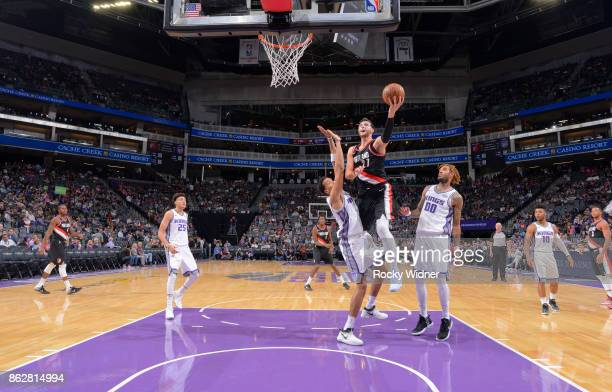 Jusuf Nurkic of the Portland Trail Blazers goes up for the shot against the Sacramento Kings on October 9 2017 at Golden 1 Center in Sacramento...
