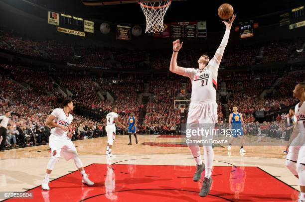 Jusuf Nurkic of the Portland Trail Blazers grabs a rebound against the Golden State Warriors in Game Three of the Western Conference Quarterfinals of...