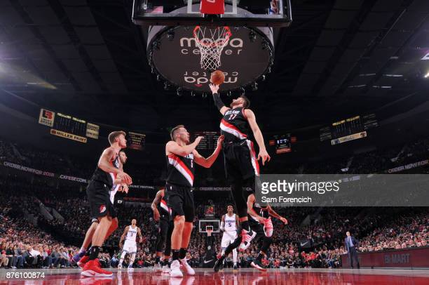 Jusuf Nurkic of the Portland Trail Blazers grabs the rebound against the Sacramento Kings on November 18 2017 at the Moda Center in Portland Oregon...
