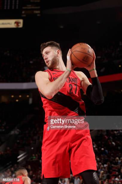 Jusuf Nurkic of the Portland Trail Blazers grabs the rebound against the Milwaukee Bucks on November 30 2017 at the Moda Center in Portland Oregon...