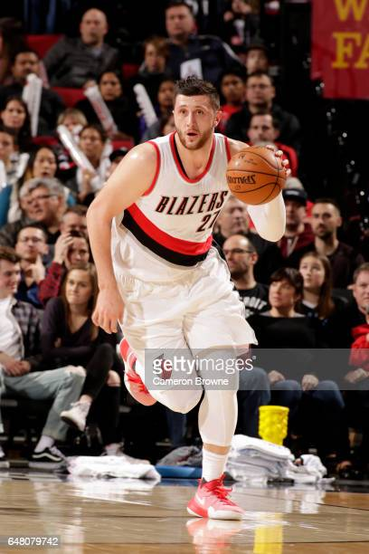 Jusuf Nurkic of the Portland Trail Blazers handles the ball against the Brooklyn Nets on March 4 2017 at the Moda Center in Portland Oregon NOTE TO...