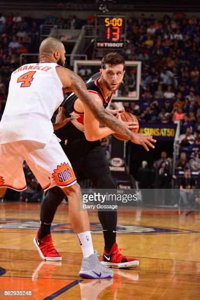 Jusuf Nurkic of the Portland Trail Blazers handles the ball against the Phoenix Suns on October 18 2017 at Talking Stick Resort Arena in Phoenix...