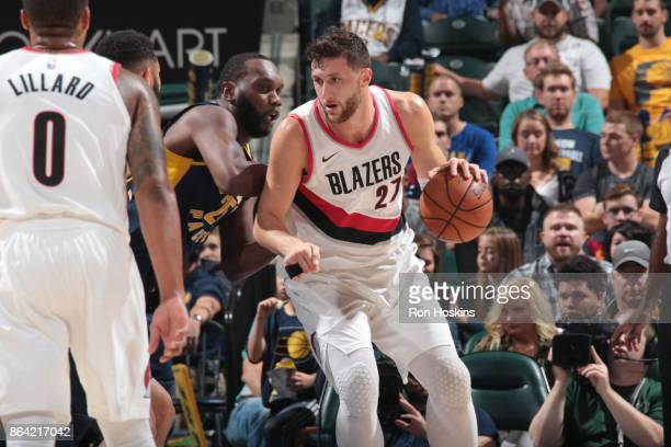 Jusuf Nurkic of the Portland Trail Blazers handles the ball against the Indiana Pacers on October 20 2017 at Bankers Life Fieldhouse in Indianapolis...