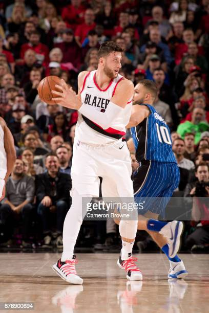 Jusuf Nurkic of the Portland Trail Blazers handles the ball against the Orlando Magic on November 15 2017 at the Moda Center Arena in Portland Oregon...