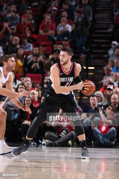 Jusuf Nurkic of the Portland Trail Blazers handles the ball against the Los Angeles Lakers on November 2 2017 at the Moda Center in Portland Oregon...