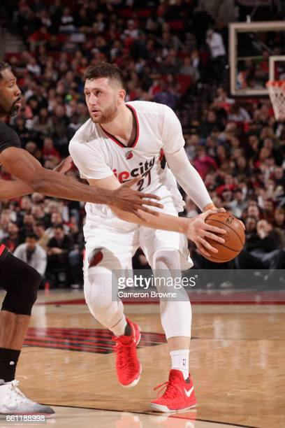 Jusuf Nurkic of the Portland Trail Blazers handles the ball during a game against the Houston Rockets on March 30 2017 at the Moda Center in Portland...