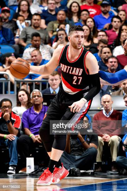 Jusuf Nurkic of the Portland Trail Blazers handles the ball during the game against the Orlando Magic on February 23 2017 at Amway Center in Orlando...