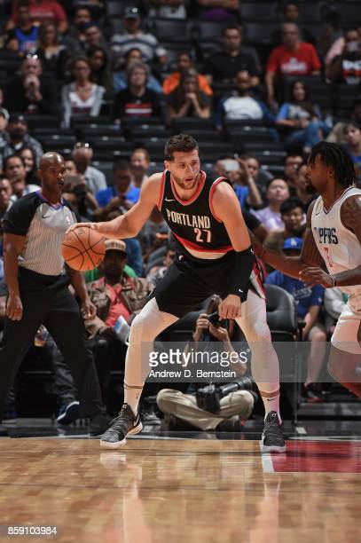 Jusuf Nurkic of the Portland Trail Blazers handles the ball during the 2017 NBA PreSeason game against the LA Clippers on October 8 2017 at STAPLES...
