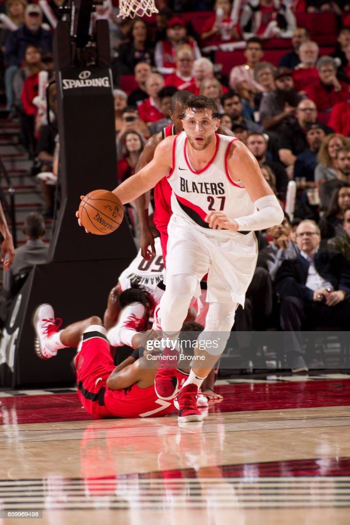 Jusuf Nurkic #27 of the Portland Trail Blazers handles the ball during the preseason game against the Toronto Raptors on October 5, 2017 at the Moda Center Arena in Portland, Oregon.