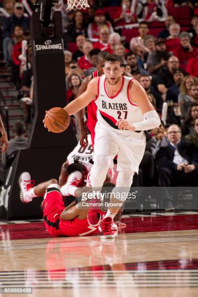 Jusuf Nurkic of the Portland Trail Blazers handles the ball during the preseason game against the Toronto Raptors on October 5 2017 at the Moda...